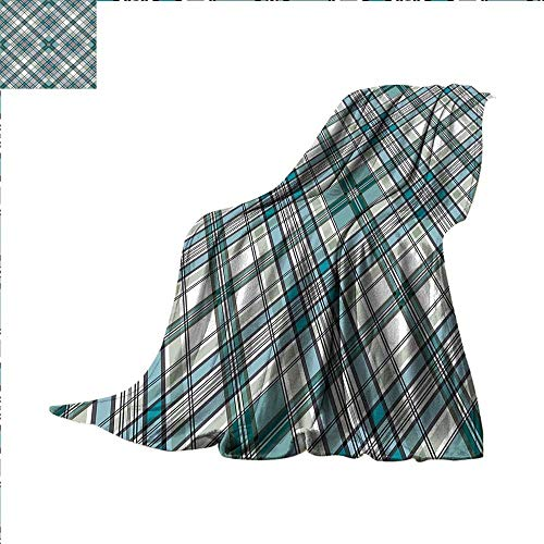 Checkered Throw Blanket Vintage Fashion English Country Style with Modern Look in Light Colors Swaddle Blanket 60 x 50 inch Aqua Light Grey White ()