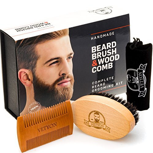 Natural Beard Brush and Beard Comb Kit for Men Grooming – Handmade Beard Care Set Made Exclusively of Wood and Genuine Boar Bristles for Proper Beard and Mustache Maintenance