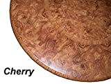 Table Cloth Round 36'' to 48'' Elastic Edge Fitted Vinyl Table Cover Cherry Wood Pattern Brown Tan