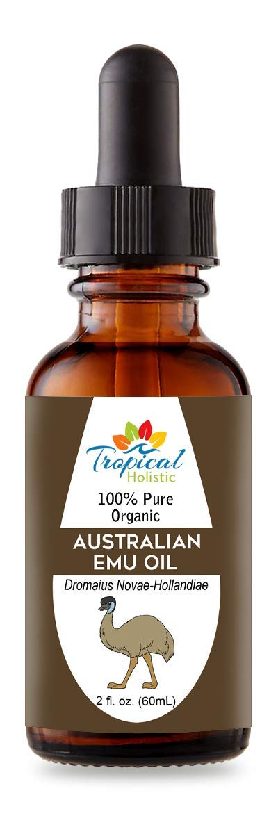 Australian Refined Organic Emu Oil 2 oz - 100% Pure Natural Premium Essential Oil by Tropical Holistic - Multipurpose Beauty Essential for Hair, Face, Skin, Stretch Marks & Nails - Travel Size