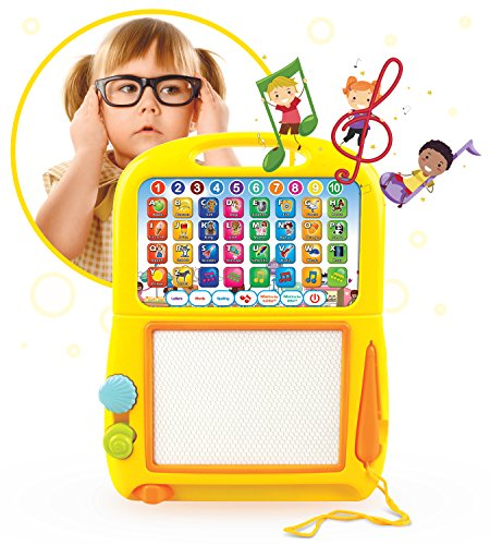 (Learning Tablet + Magnetic Drawing Pad by Boxiki Kids. Toddler Musical Toy w/ Kids' Learning Games. Educational Toy for Child Development. Learn Numbers, ABC Learning, Spelling Games, Musical Tunes)
