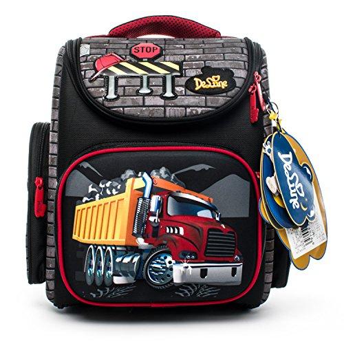 Delune Folding School Backpack for Kids Waterproof Red Truck Bookbag for Boys by Delune (Image #2)