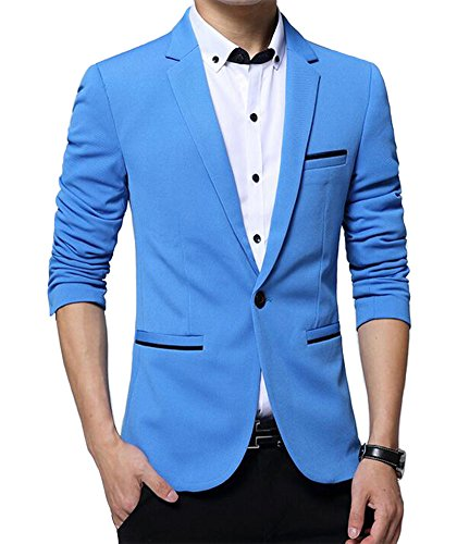 Benibos Men's Slim Fit Casual Premium Blazer Jacket (S, Light Blue) (Men Blazer Light Blue compare prices)