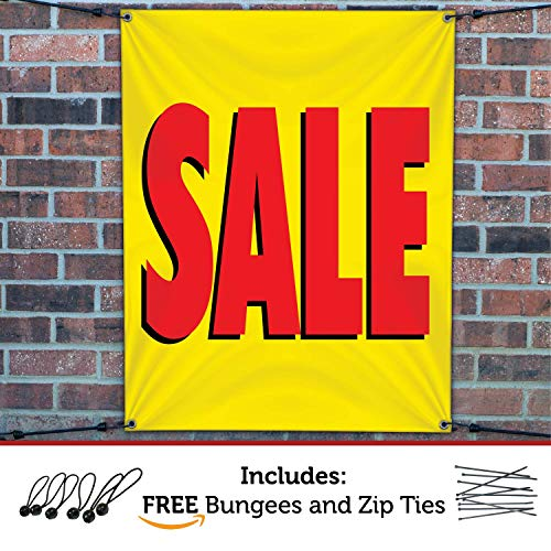 HALF PRICE BANNERS | Sale Vinyl Banner | Mesh Wind Resistant | 3'x2' Yellow | Free Ball Bungees & Zip Ties | Easy Hang Promotional Advertising Sign | Business Retail Store | Various Size | Made in USA