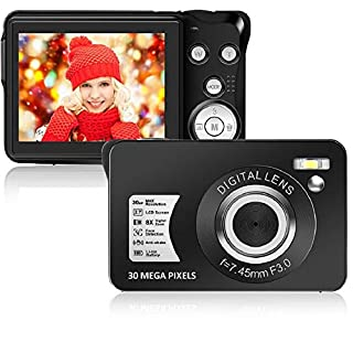 Digital Camera,Support 128GB SD Card(Not Included), 30MP 2.7 Inch 1080P HD Mini Camera Point and Shoot Students Digital Camera for Kids Teenagers Beginners