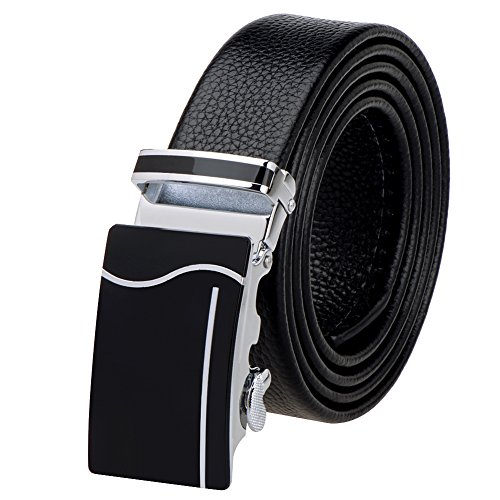 [Vbiger Men's Business Genuine Cowhide Belt with Automatic Buckle] (Cowhide Buckle)