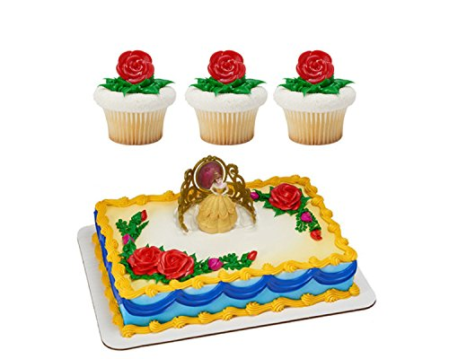 Disney's Beauty & The Beast BELLE Licensed Cake Topper by Decopac & 24 Red Rose Cupcake Ring Combo