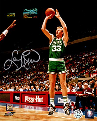 Larry Bird Autographed Signed Boston Celtics Green Jersey Jump Shot 8x10 Photo - Certified Authentic ()