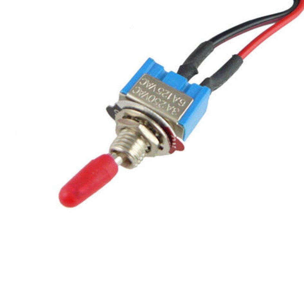 Fenteer 12V Mini Kippschalter Schalter Wippschalter Auto Schalter mit Kabel