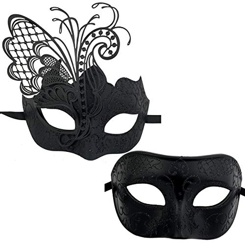 Xvevina Couples Pair Goth Venetian Masquerade Masks Set Party Costume Masks (Black) -