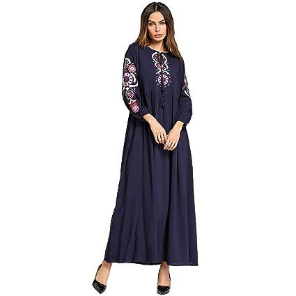 Cvbndfe Cómodo Vestido de túnica árabe Bordado de Manga Larga de algodón de Gran tamaño para