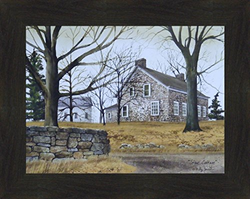 Stone Cottage by Billy Jacobs 16×20 Landscape Country Primitive Folk Art Print Wall D cor Framed Picture 2 Espresso
