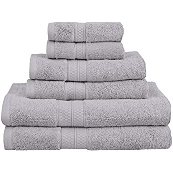 Superior Rayon from Bamboo and Cotton Bathroom Towels, Velvety Soft and Super Absorbent, Hotel & Spa Quality 6 Piece Towel Set with 2 Bath Towels, 2 Hand Towels, and 2 Washcloths - Chrome