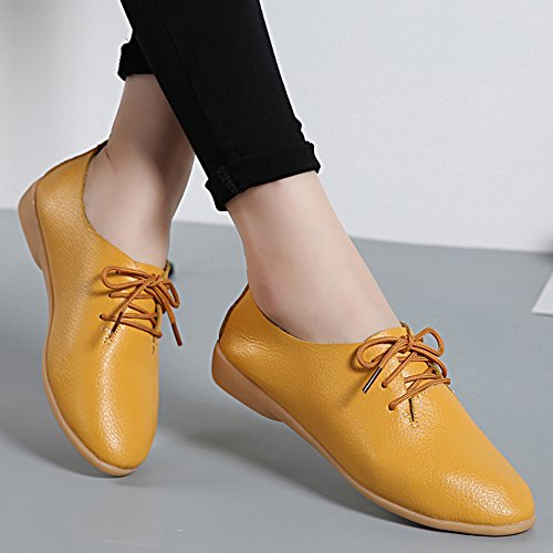 Panda Women Laces Leather Causal On For Flat Loafers Shoes Yellow Slip Kelly rqI0wFvr
