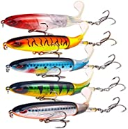 5-Pack Fishing Lures Plopper 5.5inch/1.2oz with Rotating Spins Tail for Bass Trout Walleye Pike Musky Floating