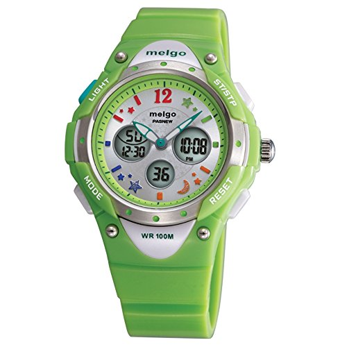 Jewtme pasnew Boys Grils LED Waterproof 100m Dual Time Unisex Children Outdoor Sport Watch-Green