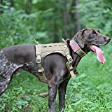 OneTigris Tactical Service Dog Vest – Water-Resistant Comfortable Military Patrol K9 Dog Harness with Handle (Medium, Coyote Brown)
