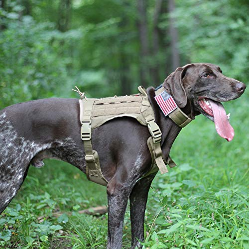 OneTigris Tactical Service Dog Vest - Water-Resistant Comfortable Military Patrol K9 Dog Harness with Handle (Medium, Coyote Brown)