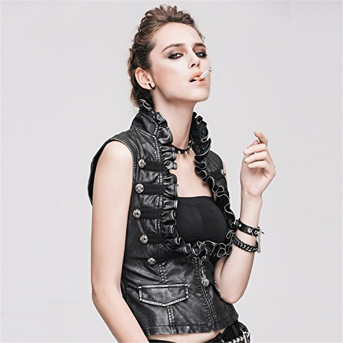 Devil Fashion Vintage Punk Pu Leder Weste Weste f¨¹r Frauen Ehrf¨¹rchtige gotische Sleeveless Damen Gilet Jacke mit Rei?verschluss, 6 Gr??en