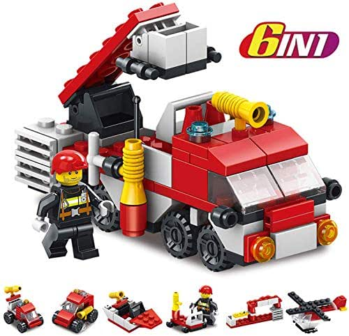 Fire Trucks for Boys, Easter Eggs Plastic prefilled with Helicopter, Truck Ladder, Fire Boat, Fire Tanker, Fire Engine Building Block Toys Surprise Easter Gifts for Kids Rescue Red Fire Ttruck Toys