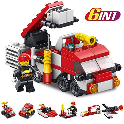 Forklift Engine - Fire Trucks for Boys, Easter Eggs Plastic prefilled with Helicopter, Truck Ladder, Fire Boat, Fire Tanker, Fire Engine Building Block Toys Surprise Easter Gifts for Kids Rescue Red Fire Ttruck Toys