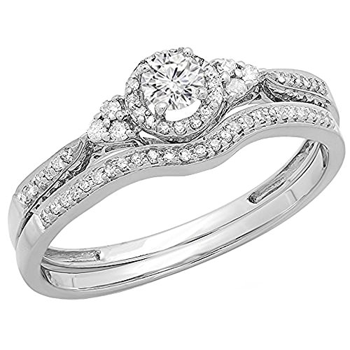 0.33 Carat (ctw) 14K White Gold Round Diamond Ladies Bridal Engagement Ring Set 1/3 CT (Size 5) by DazzlingRock Collection