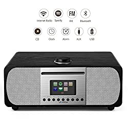 LEMEGA M5+ All-in-One Smart Music System (2.1 Stereo) with CD, Wi-Fi, Internet Radio, Spotify, Bluetooth, DLNA, FM Radio, Clock, Alarms, Presets, and Wireless App Control (Black Oak)