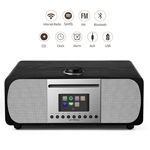 LEMEGA M5+ CD/Wi-Fi/DLNA/Spotify connect /Internet Radio/FM radio with Bluetooth and Clock2.1 Speaker system (Black oak)