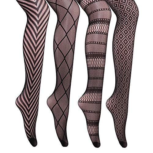 CozyWow 4/6 Pairs Women's Hollow Out Fishnet Sheer Patterned Pantyhose Tights 82 (6 Pack Of Fishnet Fashion Tights Black)