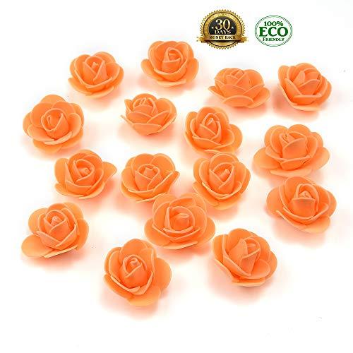 Mini Lei (Mini PE Foam Rose Flower Head Artificial Rose Flowers Handmade DIY Wedding Home Decoration Festive & Party Supplies 50pc 3cm(Orange))