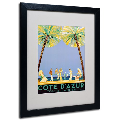 Jean Domergue Cote D'Azur Framed Matted Canvas Art, 11 by 14-Inch