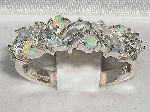 Solid Sterling Silver Natural Fiery Opal & Aquamarine Eternity Band Ring - Size 11.75 - Sizes 5 to 12
