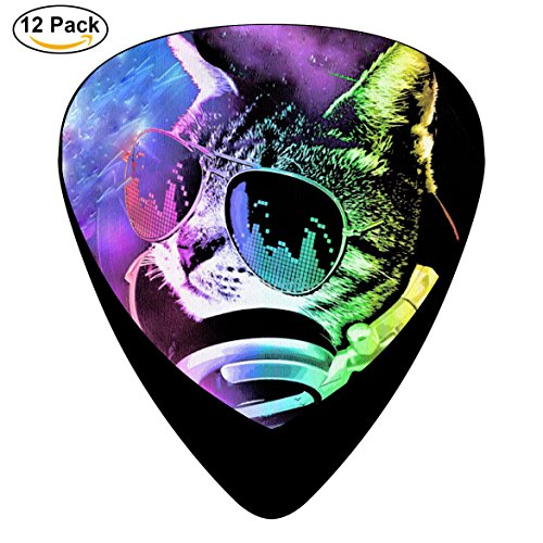 PNY9O Space Cat With Glasses Guitar Picks / Celluloid,12 - Glasses Celluloid