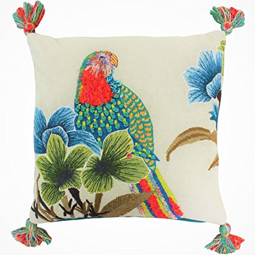 FILLED LUXURY TROPICAL FLORAL PARROT WOOL COTTON EMBROIDERED CUSHION PILLOW CASE SHAM 50CM - 20
