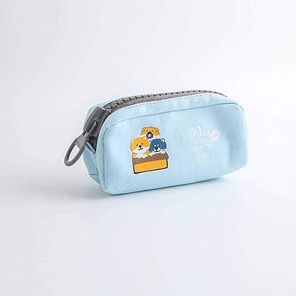 SASHUI Estuche Big Zipper Dog Estuche Para Lápices Dibujos Animados De Gran Capacidad Bolso Para Lápices Estuche Para Bolígrafos Lindo Regalo De Papelería Kawaii Útiles Escolares, Azul: Amazon.es: Oficina y papelería