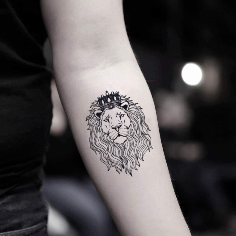 Tatuaje Temporal de León con corona (2 Piezas) - www.ohmytat.com ...