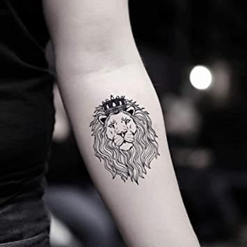 Amazon Com Lion With Crown Temporary Fake Tattoo Sticker Set Of 2