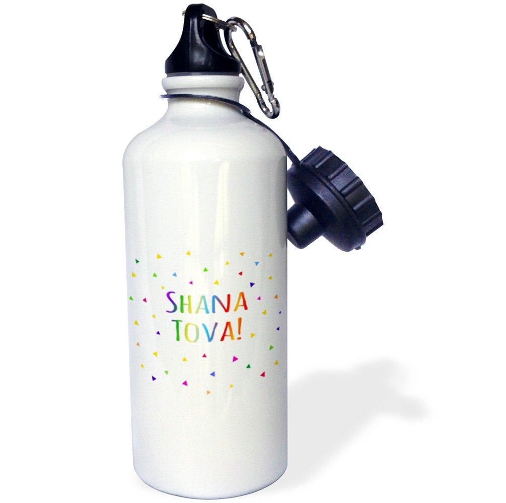 Rosh Hashanah greeting for a Happy Jewish New Year Sports Water Bottle 21oz Multicolored 3dRose wb/_202092/_1 Shana tova