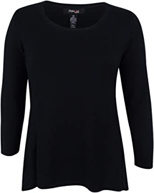 Style & Co. Womens Plus Asymmetric Knit Pullover Sweater