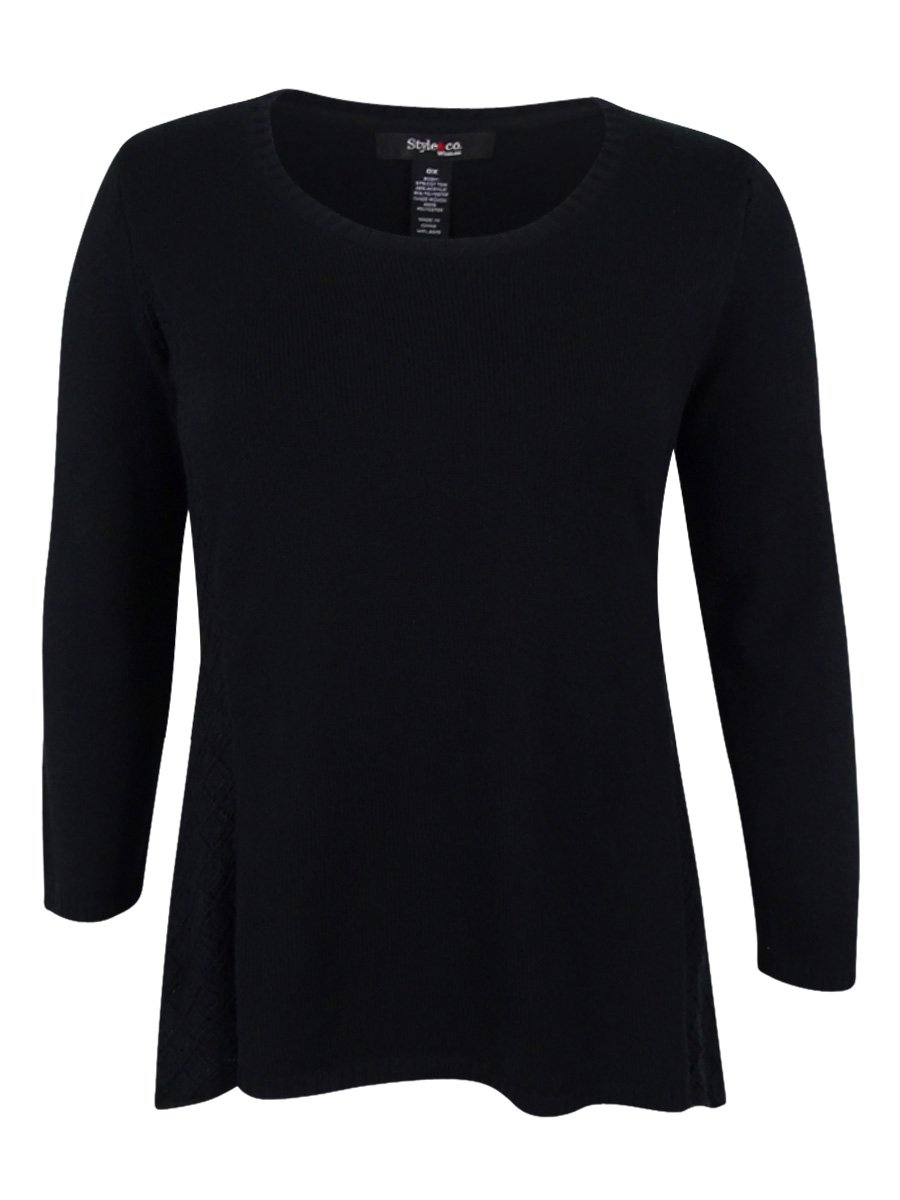 Style & Co. Womens Plus Pointelle Long Sleeves Tunic Sweater Black 2X