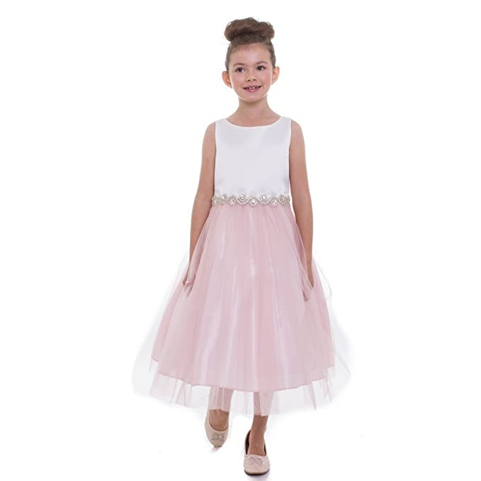 f23bf7a74 Petite Adele Little Girls Blush Rhinestone Belt Abigail Flower Girl Dress  1-2 Light Pink