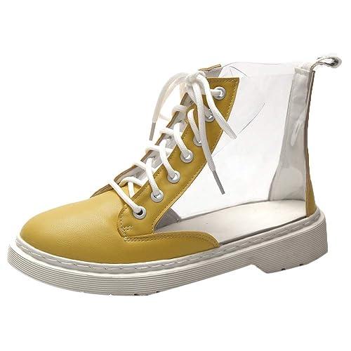2018 Moda Botas para Muje Martin de tacón Grueso Botines Altos Talones de Plataforma con Cordones Botas Mujer Botines de Nieve Warm Piel Zapatos: Amazon.es: ...
