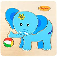 Educational Wooden Puzzle for Kids Animal and Vehicle Patterns - Elephant