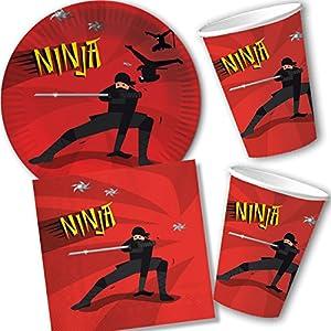 Set de 37 pièces Ninja DH-Konzept - Avec assiettes, gobelets, serviettes, décorations et ballons - Pour anniversaire d… 8