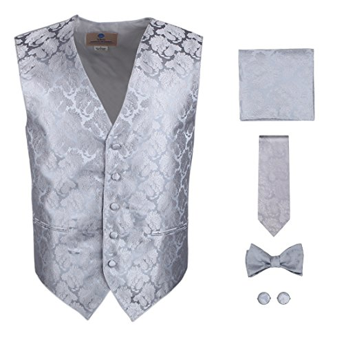 Silver Paisley Formal Vest for Men Grey Patterned for Mens Gift Idea with Neck Tie, Cufflinks, Handkerchief, Bow Tie for Suit Vs1006-L Large Silver