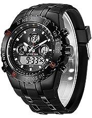 Montres de Sport pour Homme étanche, chronomètre, Date, Alarme, Lumineux, numérique, analogique, Militaire, avec Bracelet en Caoutchouc