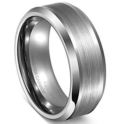 King Will BASIC Unisex 8MM Tungsten Carbide Ring Wedding Band Matte Finished Center Comfort Fit 10 -