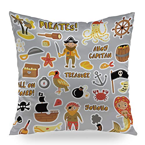 - Moslion of Pirates Cartoon Stickers Adventures Throw Pillows Decortative Pillow Case Satin Square Pillow Cover Cushion Cover Home Decor for Sofa Bed 20x20 inch