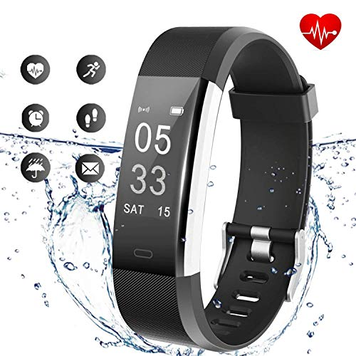 Lintelek Fitness Tracker, Activity Tracker with Heart Rate Monitor, Waterproof Smart Fitness Watch with Sleep Monitor, Step Counter, Calorie Counter, Pedometer Watch Upgrade Version (Black)
