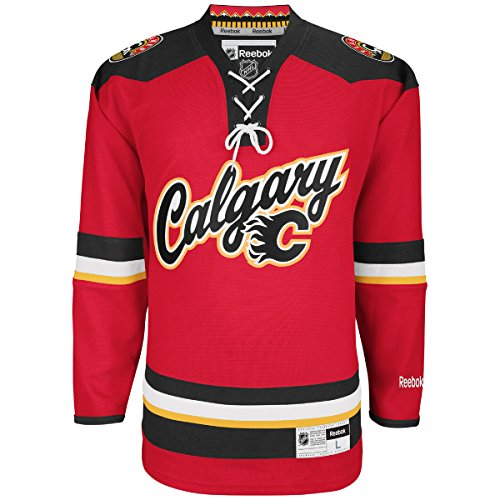 OuterStuff Calgary Flames Red Word Mark Youth Premier Jersey (Small/Medium)